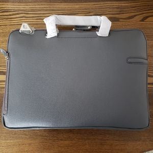 Pierre Belvedere Premium Leather Laptop Bag- Gray